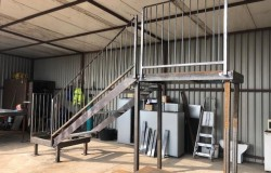 fire escape stairs manufactured for the drift bar Southsea in their raw state before galvanizing.